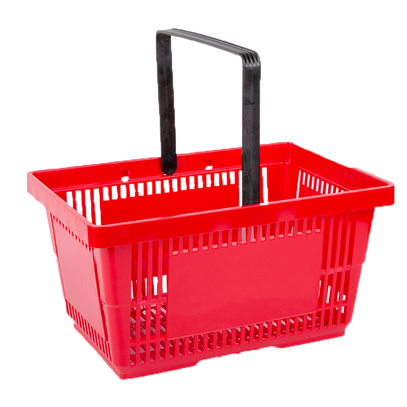 Shopping baskets, trolleys for baskets, checkout equipment